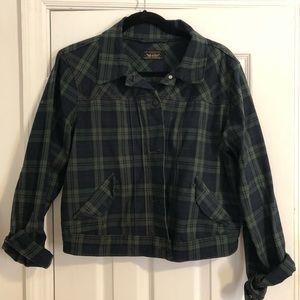 Levi's green plaid denim jacket